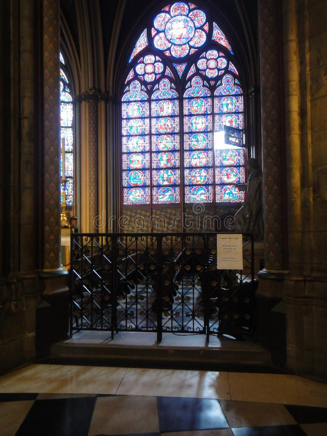 Reims, France - august 2011 : stained glass window of the Notre Dame cathedral where the kings of France were crowned stock photography