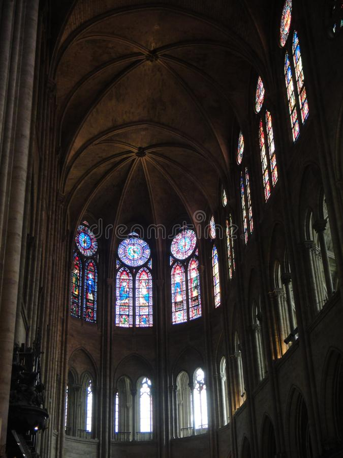 Reims, France - august 2011 : stained glass window of the Notre Dame cathedral where the kings of France were crowned.  royalty free stock image