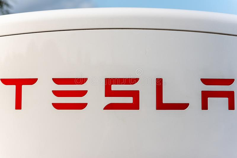 Reims, France - August 27, 2018: TESLA sign on Super Charging station stock photos