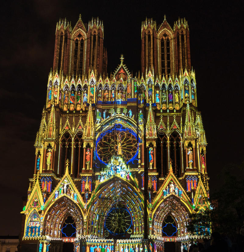 REIMS, FRANCE/EUROPE - SEPTEMBER 12 : Light Show at Reims Cathedral in Reims France on September 12, 2015 royalty free stock photo