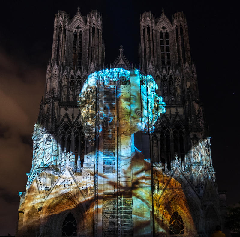 REIMS, FRANCE/EUROPE - SEPTEMBER 12 : Light Show at Reims Cathedral in Reims France on September 12, 2015 royalty free stock image