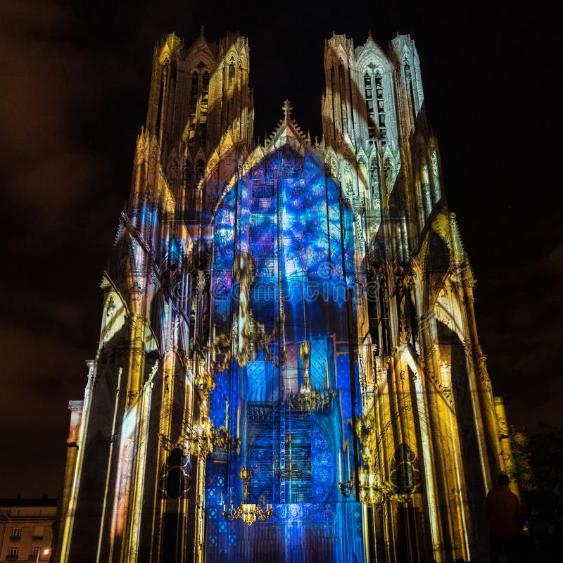 REIMS, FRANCE/EUROPE - SEPTEMBER 12 : Light Show at Reims Cathedral in Reims France on September 12, 2015. Unidentified person. stock images