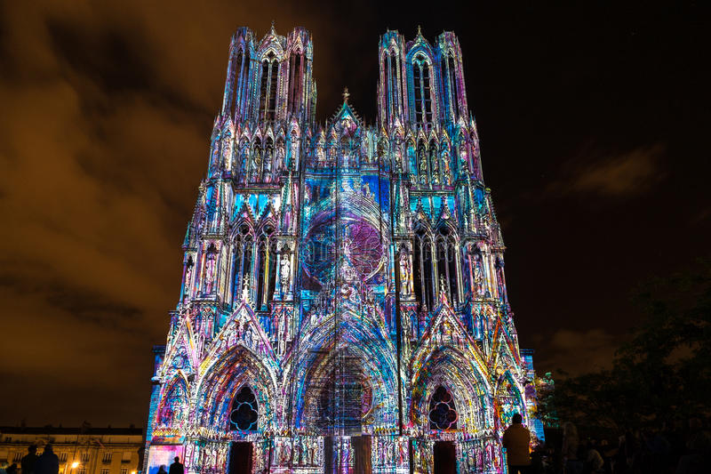 REIMS, FRANCE/EUROPE - SEPTEMBER 12 : Light Show at Reims Cathedral in Reims France on September 12, 2015. Unidentified persons royalty free stock photo