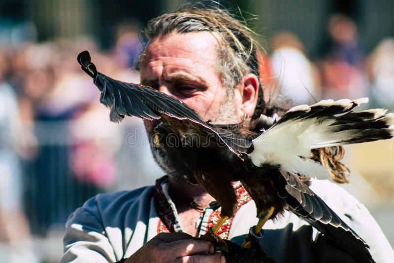 Colors of France. Reims France June 2, 2019 Closeup of a falconer and a raptor participating in a falconry show in the streets of Reims in the afternoon royalty free stock image