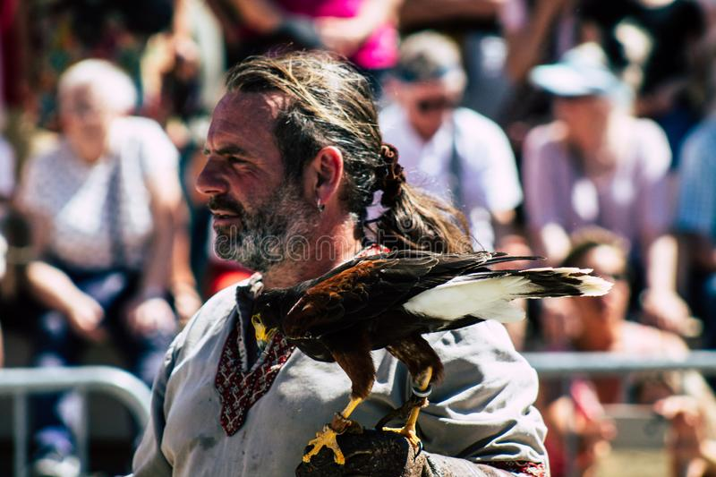 Colors of France. Reims France June 2, 2019 Closeup of a falconer and a raptor participating in a falconry show in the streets of Reims in the afternoon royalty free stock photography