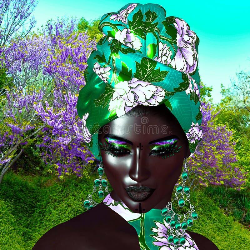 Reina africana, belleza de la moda ilustración del vector