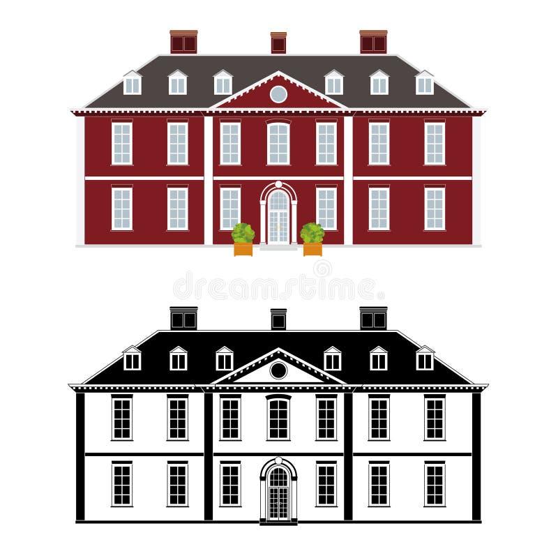 Reina Anne Style Mansion stock de ilustración