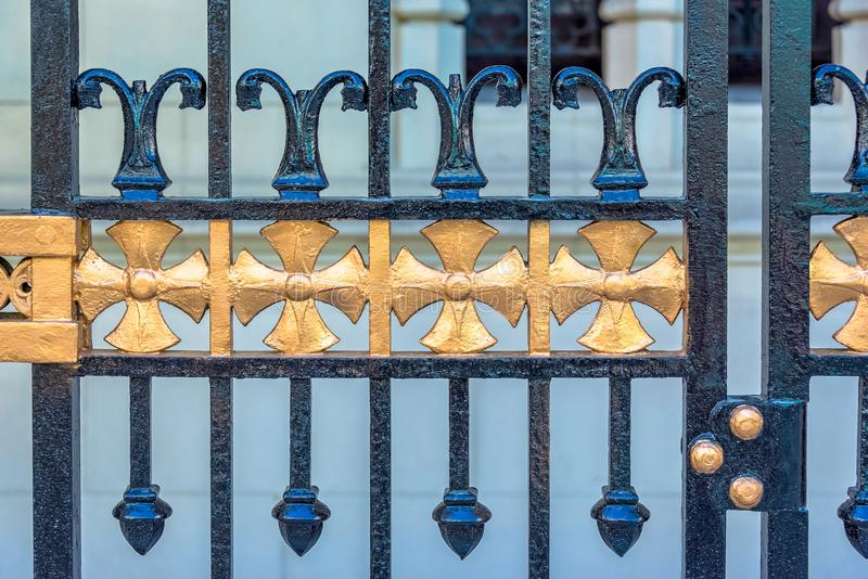 Antiquated iron gate design, Havana, Cuba royalty free stock photography