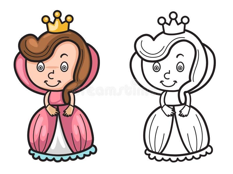 Reina colorida y blanco y negro para el libro de colorear stock de ilustración