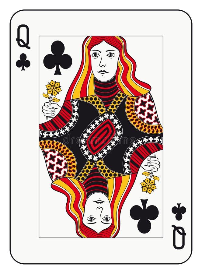Reina de clubs ilustración del vector