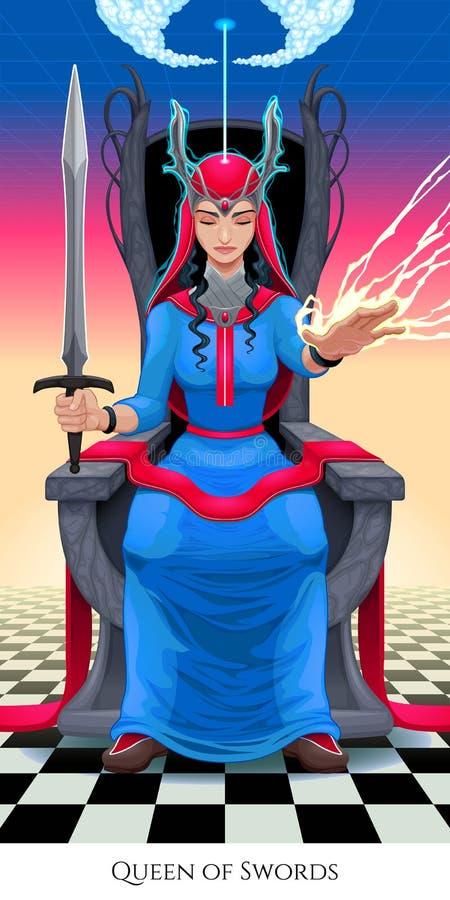 Reina de espadas, carta de tarot ilustración del vector