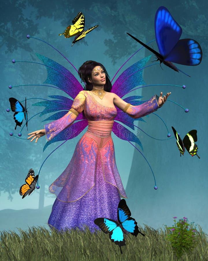 Reina de la hada de la mariposa ilustración del vector