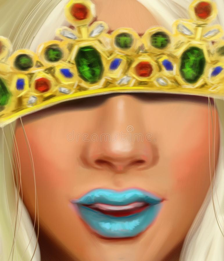 Reina de la nieve con una corona con los rubíes de los diamantes y los zafiros en el estilo de la pintura al óleo ilustración del vector