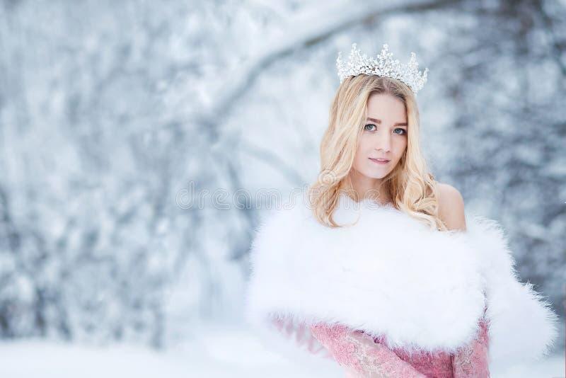 Reina de la nieve, princesa con la corona y el abrigo de pieles Cuento de hadas del invierno foto de archivo libre de regalías