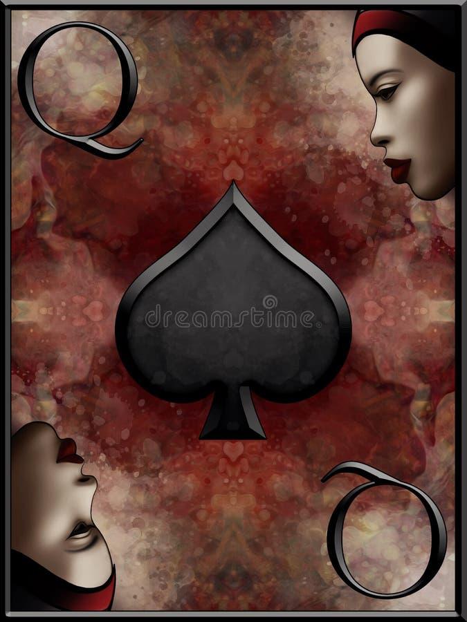 Reina de la tarjeta de las espadas ilustración del vector