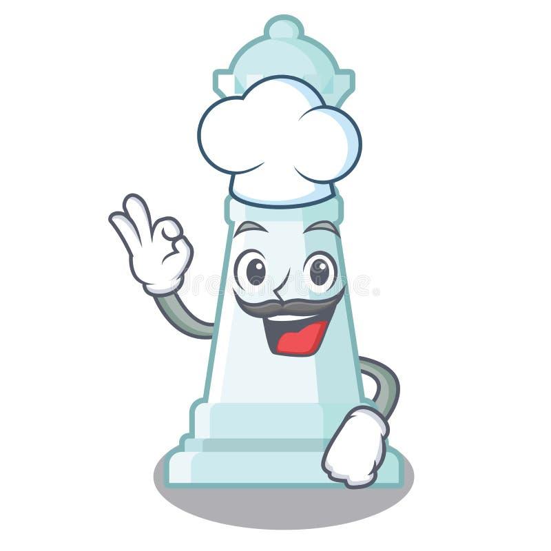 Reina del ajedrez del cocinero en el tablero de ajedrez de la mascota stock de ilustración