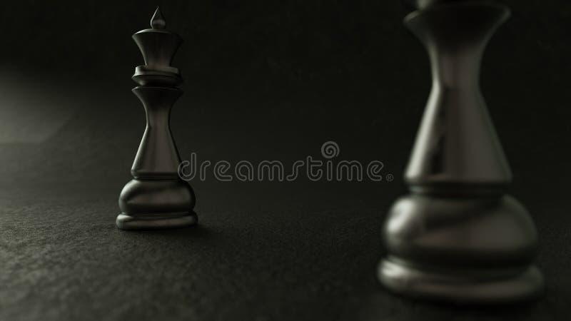 reina del ajedrez 3D en fondo oscuro representación 3d Iluminación cinemática imagen de archivo