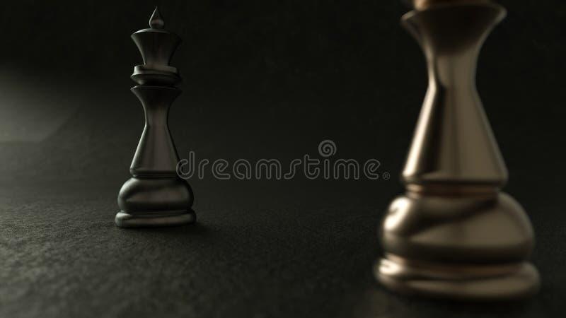 reina del ajedrez 3D en fondo oscuro representación 3d Iluminación cinemática foto de archivo