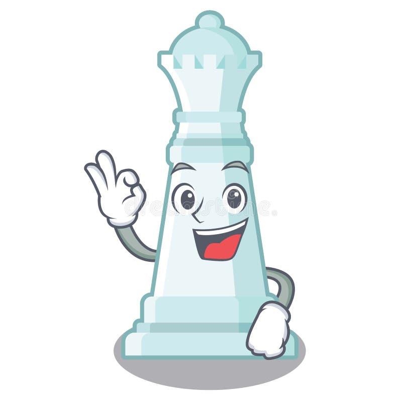 Reina del ajedrez de la autorización en el tablero de ajedrez de la mascota stock de ilustración
