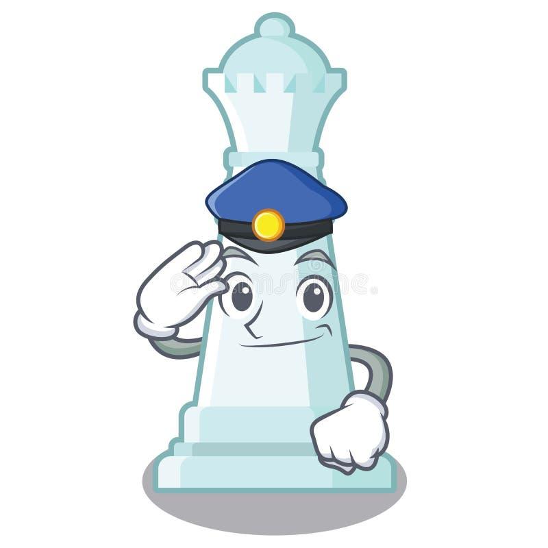 Reina del ajedrez de la policía aislada en el carácter stock de ilustración