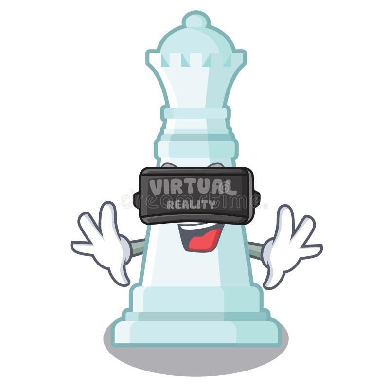 Reina del ajedrez de la realidad virtual en la forma de la historieta ilustración del vector