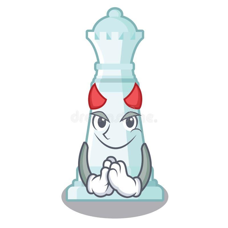 Reina del ajedrez del diablo en la forma de la historieta ilustración del vector
