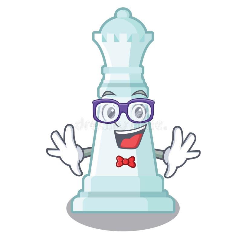 Reina del ajedrez del friki en el tablero de ajedrez de la mascota libre illustration