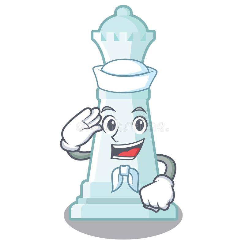 Reina del ajedrez del marinero aislada en el carácter stock de ilustración