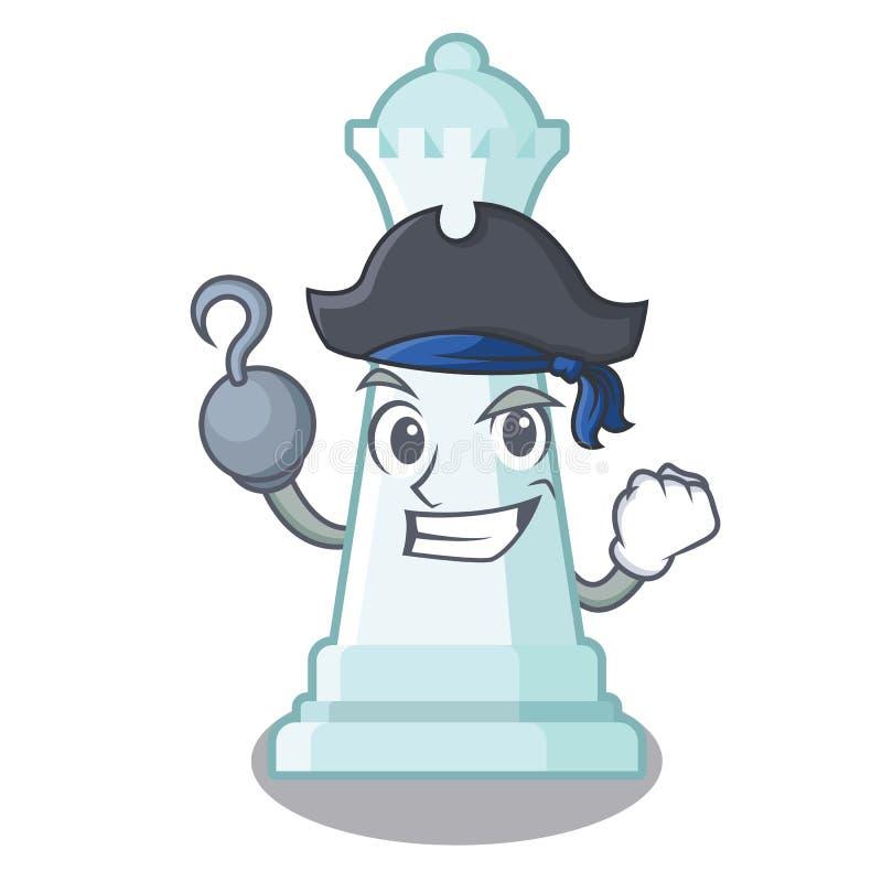 Reina del ajedrez del pirata aislada en el carácter ilustración del vector