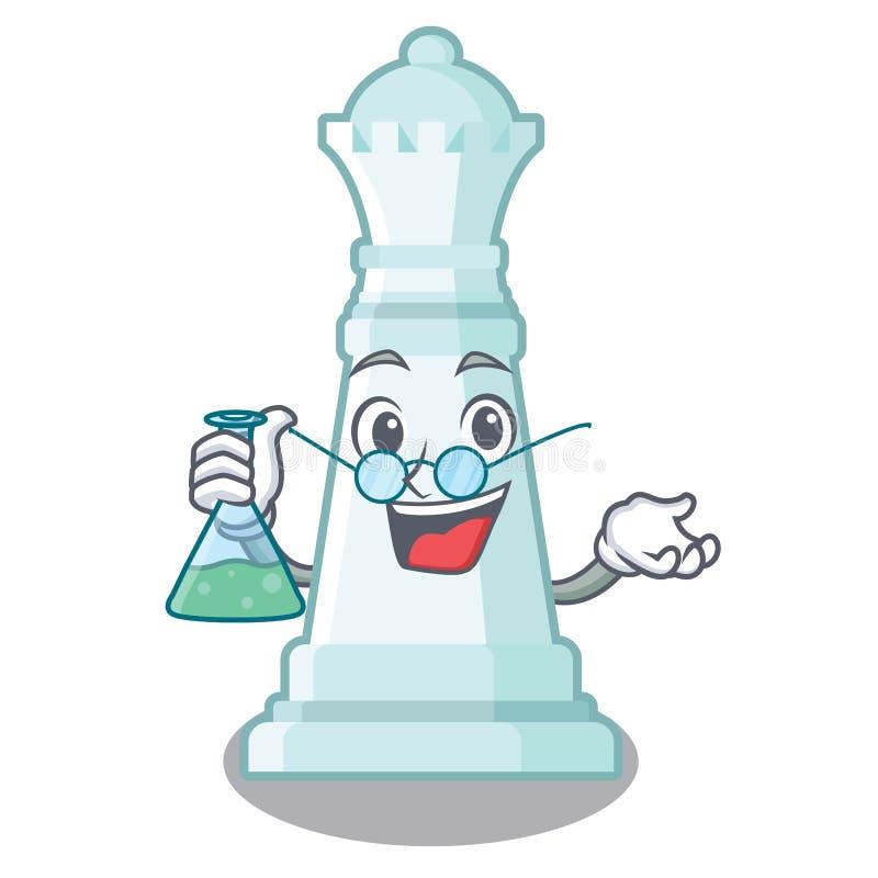 Reina del ajedrez del profesor en el tablero de ajedrez de la mascota stock de ilustración