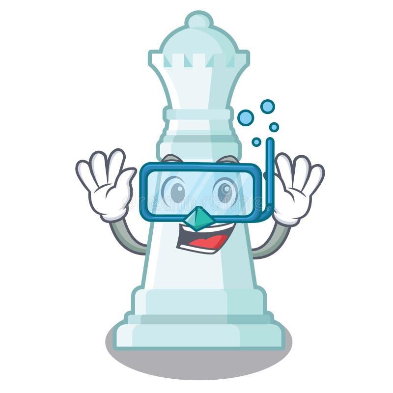 Reina del ajedrez que se zambulle en el tablero de ajedrez de la mascota libre illustration
