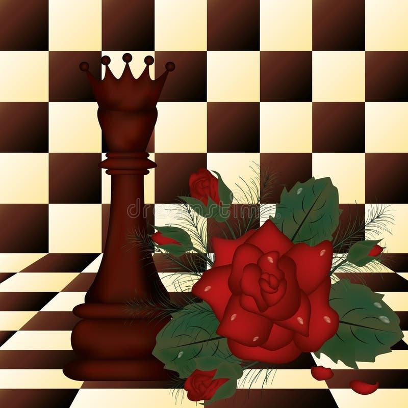 Reina del ajedrez y rosa del rojo stock de ilustración