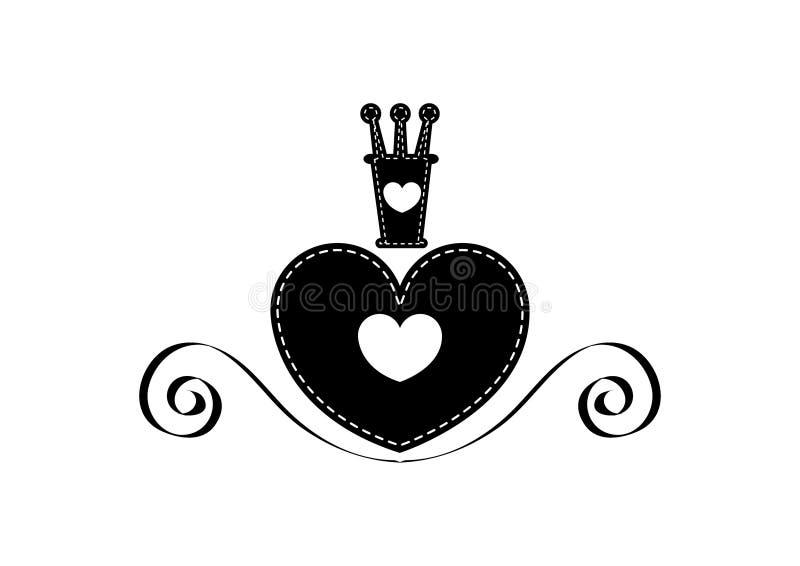 Reina del icono plano del corazón en negro libre illustration