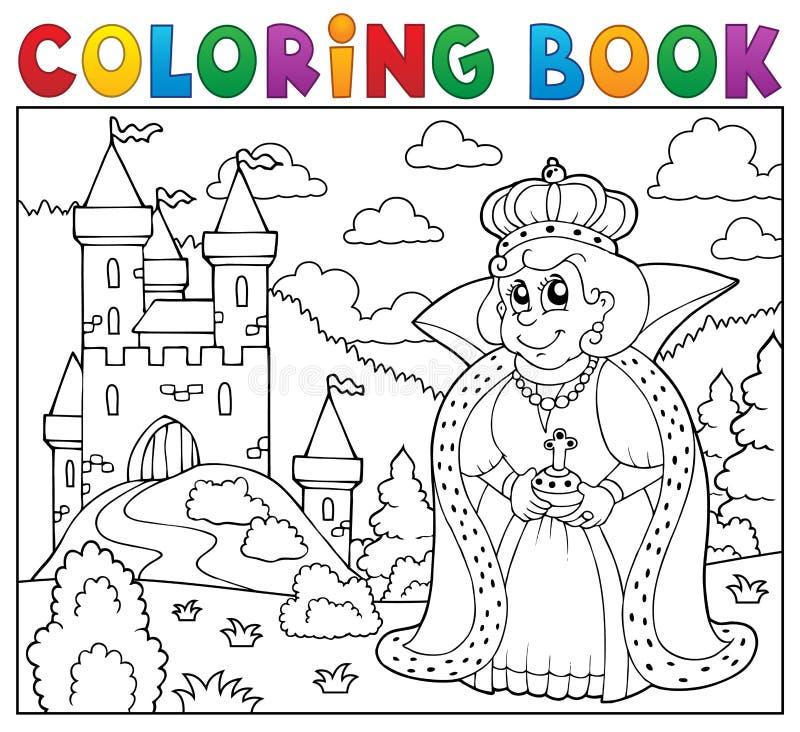 Reina del libro de colorear cerca del castillo ilustración del vector