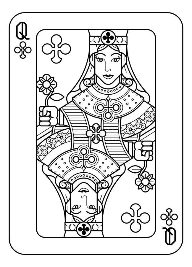 Reina del naipe de los clubs blancos y negros libre illustration