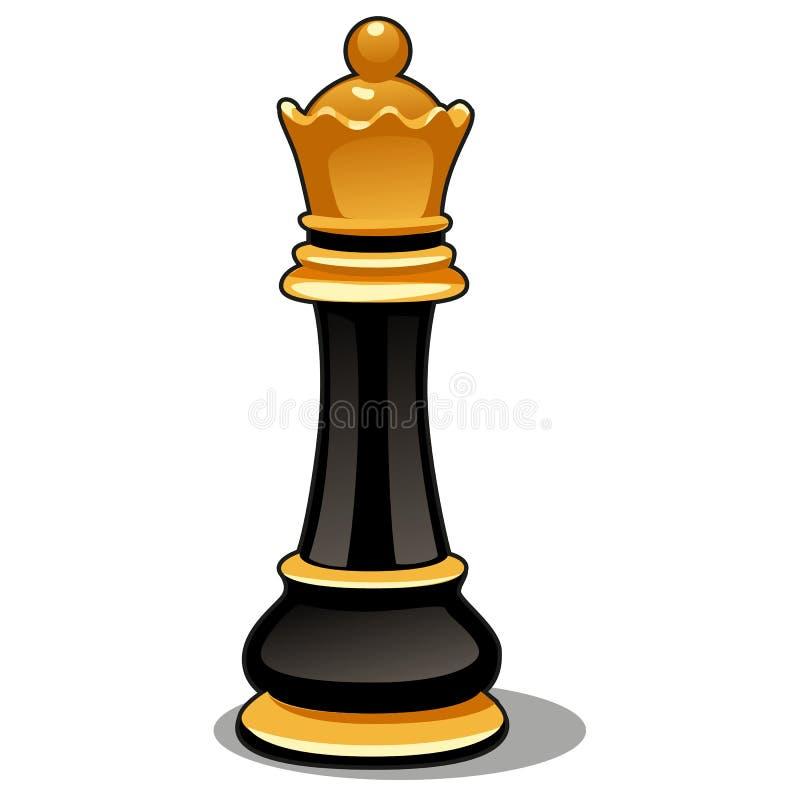 Reina del negro del pedazo de ajedrez aislada en el fondo blanco Ejemplo del primer de la historieta del vector libre illustration