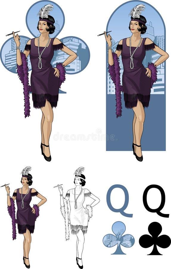 Reina del sistema de tarjeta asiático de la mafia de la actriz joven de los clubs ilustración del vector