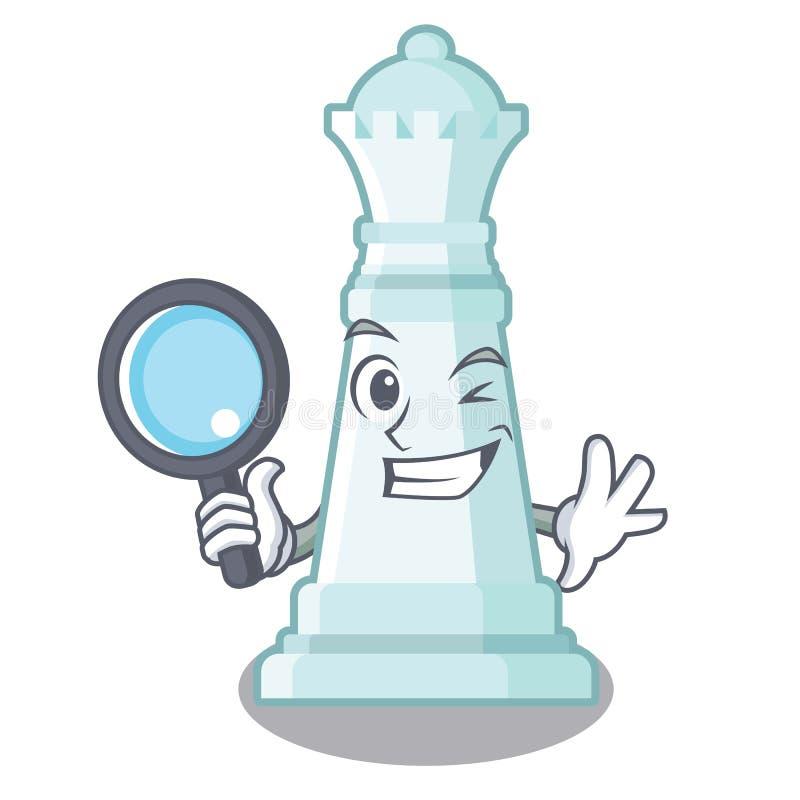 Reina detective del ajedrez en el tablero de ajedrez de la mascota ilustración del vector