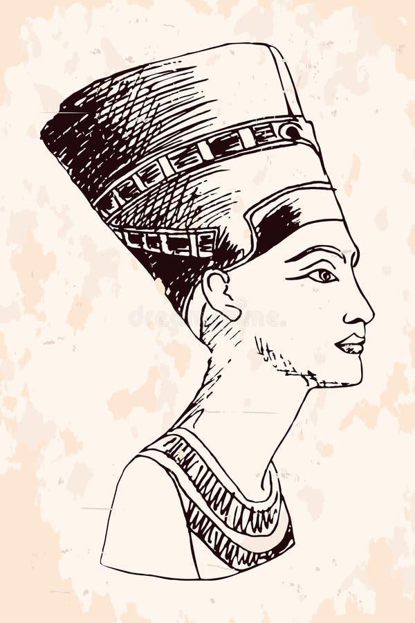 Reina egipcia Nefertiti stock de ilustración