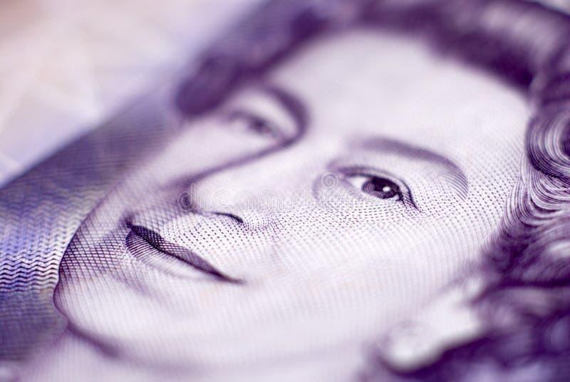 Reina Elizabeth en una cuenta de 20 libras imagen de archivo libre de regalías