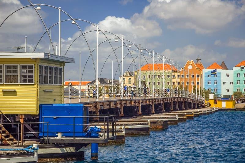 Reina Emma Bridge Willemstad, Curaçao fotos de archivo libres de regalías