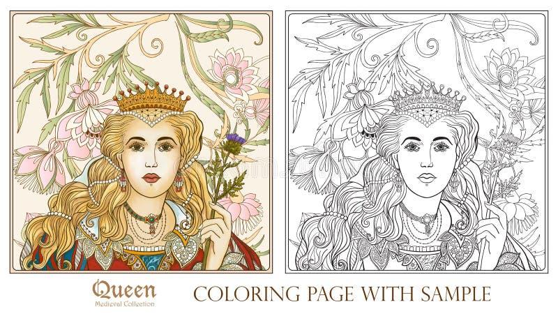 Reina en fondo medieval del estampado de flores ilustración del vector