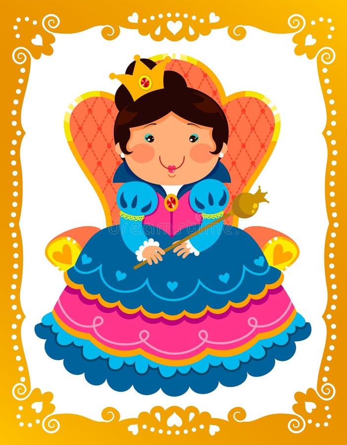 Reina en marco de oro ilustración del vector