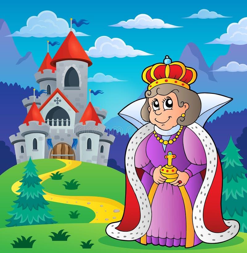 Reina feliz cerca del tema 2 del castillo stock de ilustración