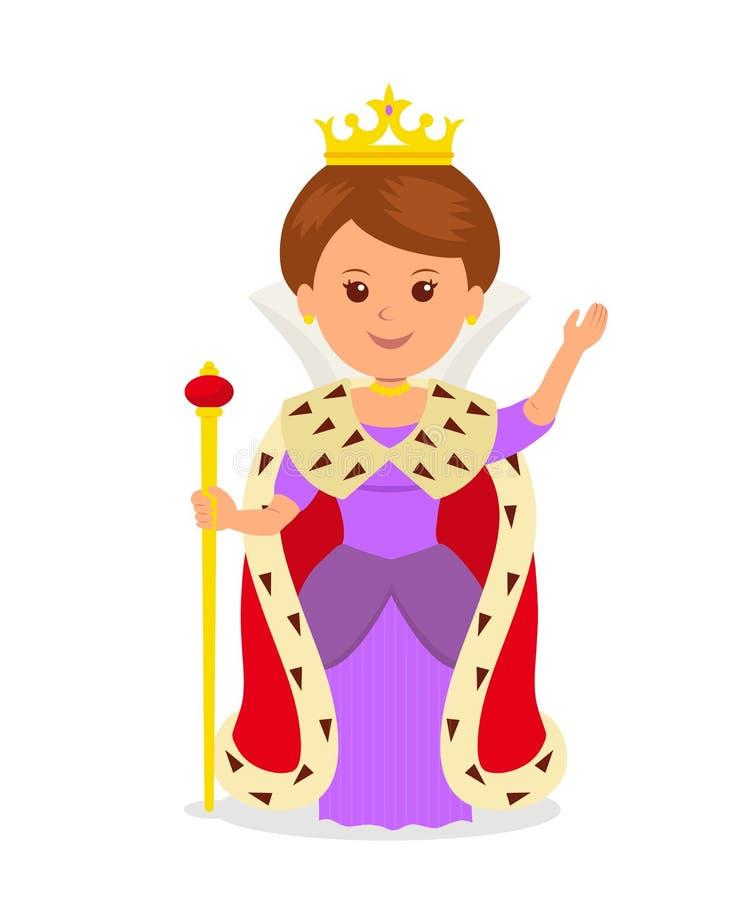 Reina linda de la muchacha carácter femenino en un traje de la princesa con una corona y cetro en un fondo blanco stock de ilustración