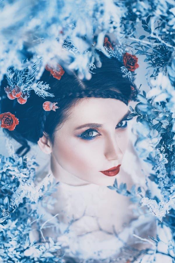 Reina majestuosa orgullosa del invierno y del frío eterno en vestido blanco largo con el pelo recogido oscuro adornado con las ro fotografía de archivo