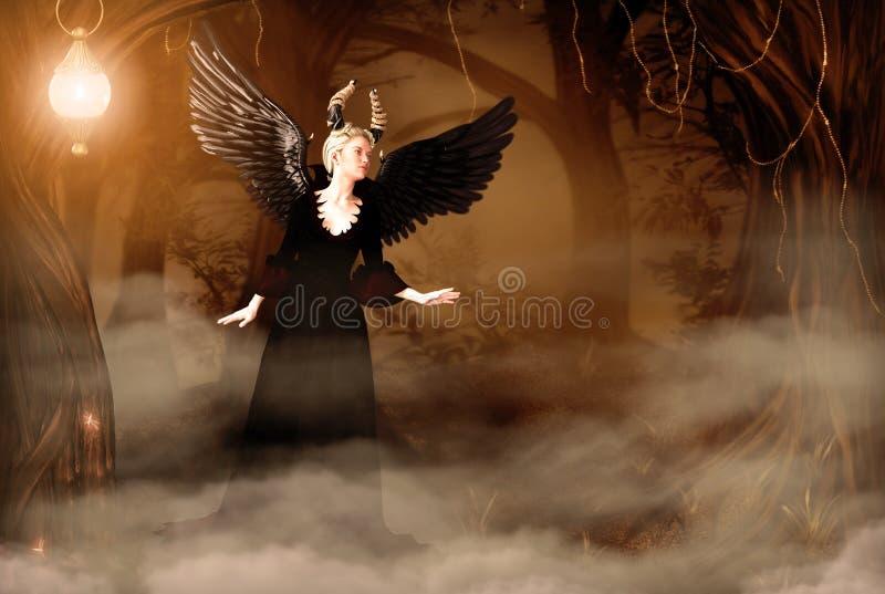 Reina malvada hermosa en bosque del cuento de hadas stock de ilustración