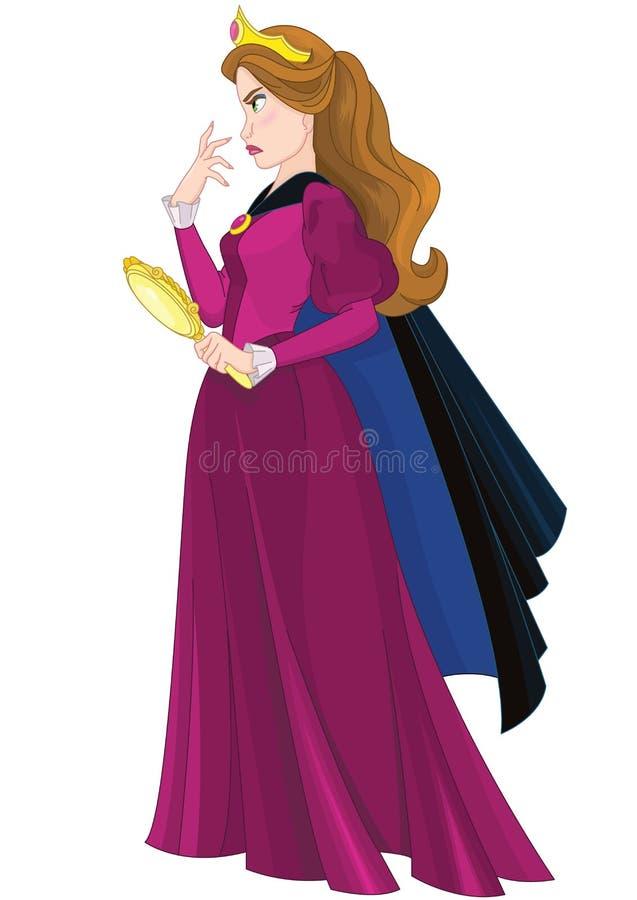Reina malvada y espejo mágico stock de ilustración