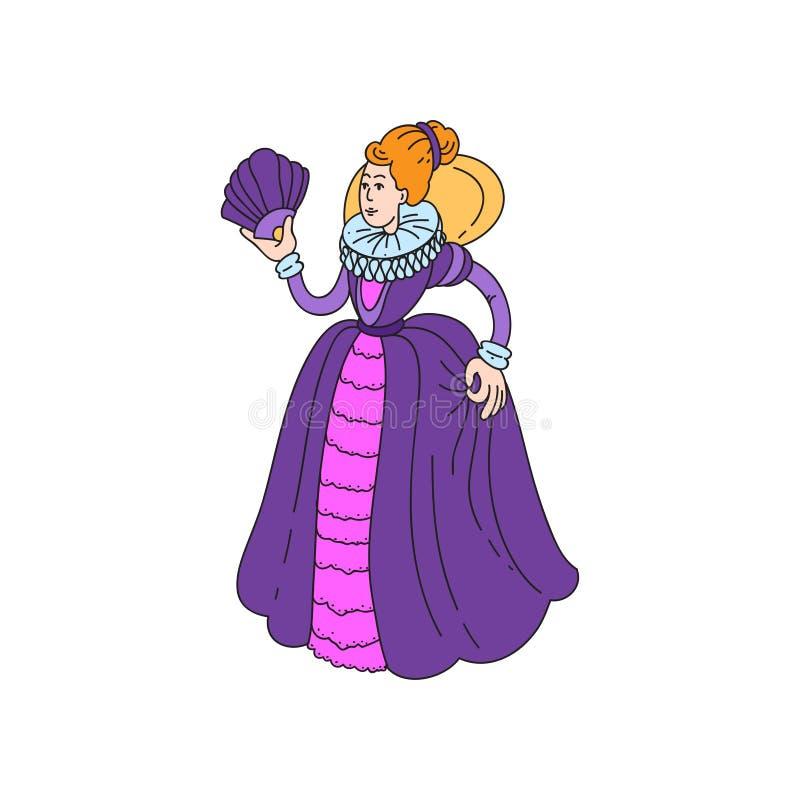 Reina medieval del pelo rojo lindo en vestido redondo largo stock de ilustración