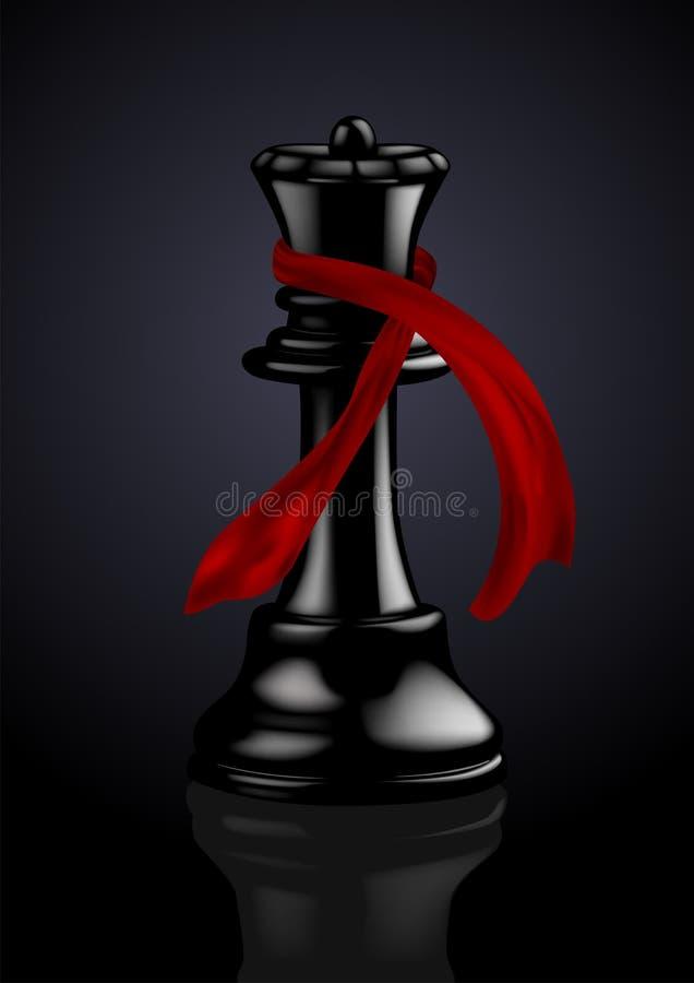 Reina negra del ajedrez con una bufanda de la manera libre illustration